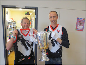 Photo: Swannies, Monkey's Josh and Nat Payne with the, as yet, unclaimed 2013 AFL Premiership Cup in Melbourne. 5 September 2013 - 23 days before the GF!