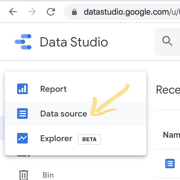Data Source mit Google Data Studio anbinden