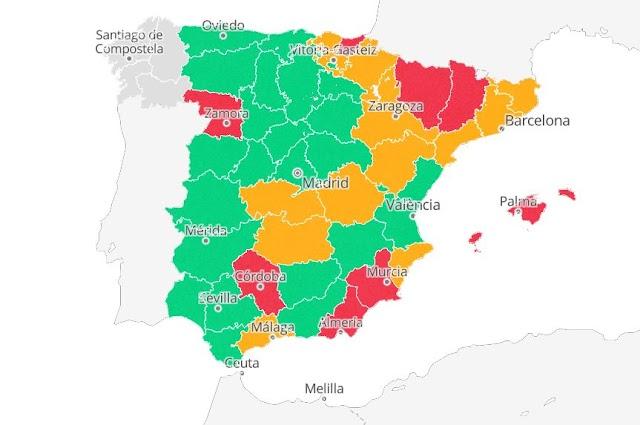 Mapa con el riesgo de rebrote en España.