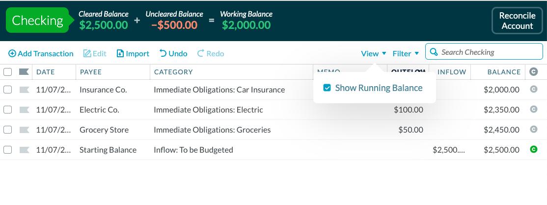 YNAB show running balance