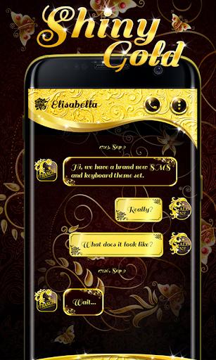 (FREE) GO SMS SHINY GOLD THEME screenshots 1
