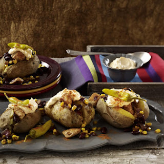 Baked Potato Stuffed with Chicken, Corn and Kidney Beans.