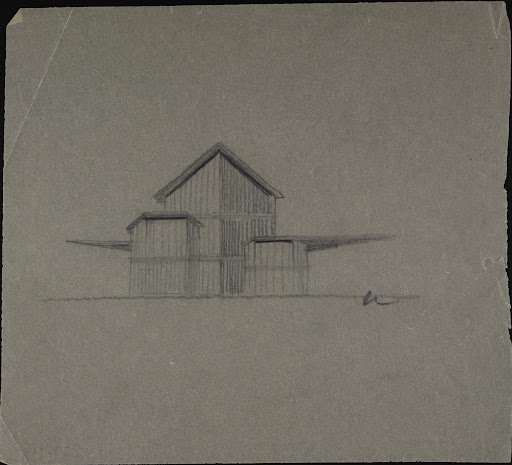 Untitled (Design sketch for a building, view)