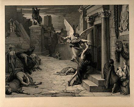 Hình ảnh Tử thần đang phá một cánh cửa trong thời gian bệnh dịch hạch hoành hành ở Rome (Italy) được khắc bởi hoạ sỹ Jules-Elie Delaunay