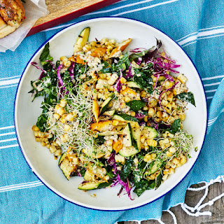 Grilled Squash, Corn and Kale Salad with Sunflower Seed Vinaigrette Recipe