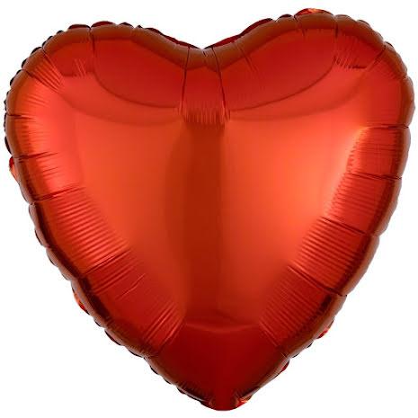 Folieballong, hjärta metallic orange 43 cm