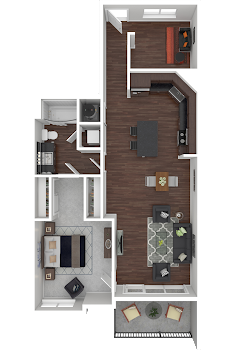 Go to One Bed, One Bath with Den Floorplan page.