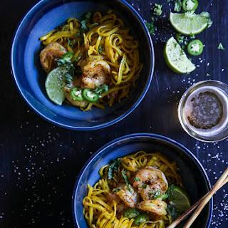 Turmeric Noodle Bowls with Ginger Garlic Shrimp.