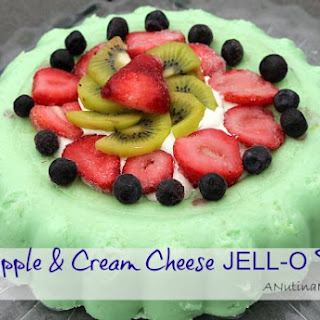 Pineapple & Cream Cheese JELL-O Fruit Dessert.