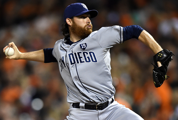 SAN FRANCISCO, CA - SEPTEMBER 26:  Ian Kennedy #22 of the San Diego Padres pitches against the San Francisco Giants in the bottom of the first inning at AT&T Park on September 26, 2014 in San Francisco, California.  (Photo by Thearon W. Henderson/Getty Images)