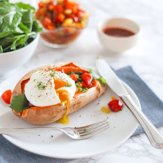 Roasted Sweet Potatoes with Poached Eggs and Bell Pepper Salsa.