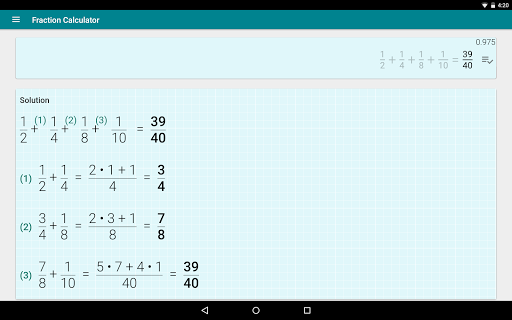 Fraction calculator: easy solve fractions problems 1.27 screenshots 9