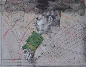 """Photo: """"OPEN""""  anno 2013 24x30 grafite, pastelli e china su carta applicata su tavola in esposizione presso Palazzo Magi, Sansepolcro (Arezzo) © tutti i diritti riservati"""