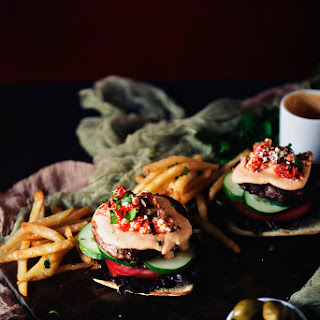 Roasted Red Pepper Hummus Lamb Burger