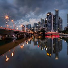 by Gordon Koh - City,  Street & Park  Vistas ( reflection, city, dusk, night, asia, city park, skyline, singapore, shenton, modern, urban, symmetry, nightscape, cityscape, modern city, esplanade, blue hour, lake, park, mbs )