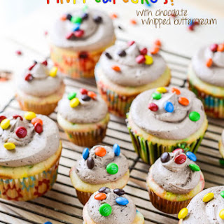 M&M Cupcakes with Chocolate Whipped Buttercream