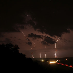A Shot in the Dark by Becky Patlan-Garcia - Landscapes Weather ( clouds, stormy, lightning, weather, arkansas,  )
