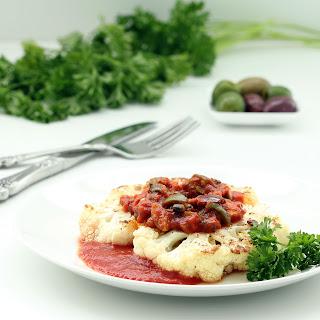 Cauliflower Steaks with Garlic Caper Sauce (Gluten-free, Vegan / Plant-based)
