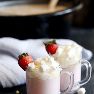Slow Cooker Strawberry Hot Chocolate.