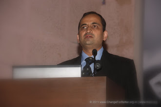 """Photo: Shri. Sandeep Suryakant Kulkarni - Business Head, CfB Change for Better Release Function November 13, 2011. Shri. Suresh Prabhu, former Union Minister released """"Change for Better"""" at HMCT Auditorium, Pune"""