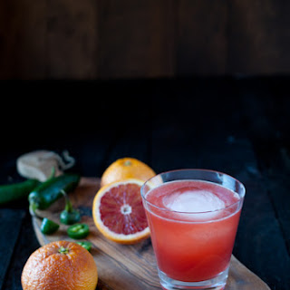 Blood Oranges, Jalapeno, Whiskey and Beer Cocktail.