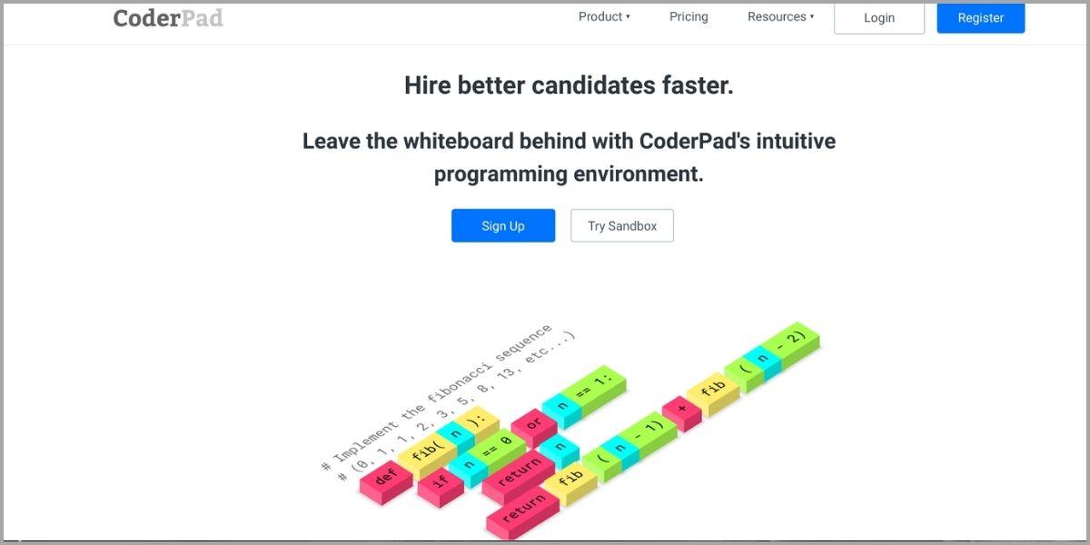 coderpad homepage