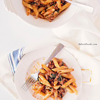 Easy Italian Sausage Penne Pasta and Kale