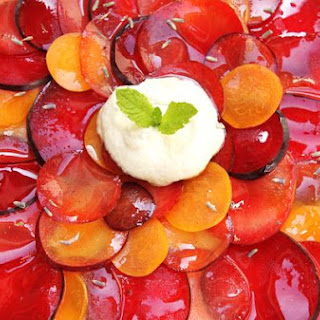 Summer Stone Fruit Carpaccio With Vanilla Bean Syrup and Ginger Cream