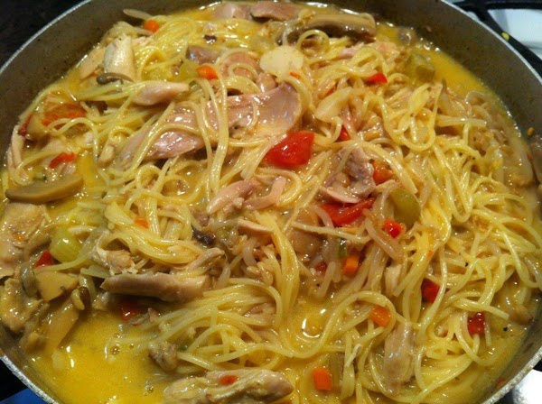 When spagetti is cooked add Rotel, mushrooms, cream of chicken soup, water chestnuts, and...