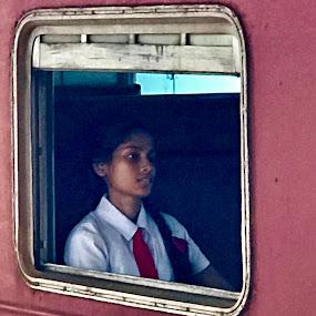Train Girl by Mylene Rizzo - People Portraits of Women ( galle, woman, girl, srilanka, train )
