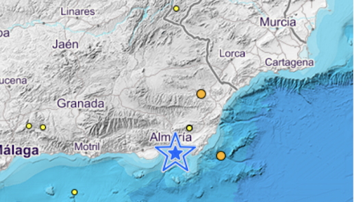 Tiembla la tierra en Almería capital con un terremoto de 2,1