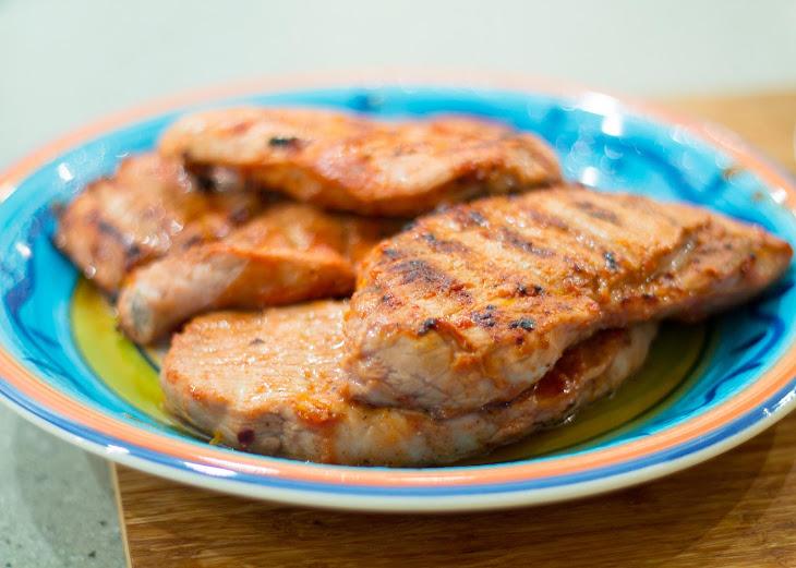 Pork Steaks with Skewered Potatoes Recipe