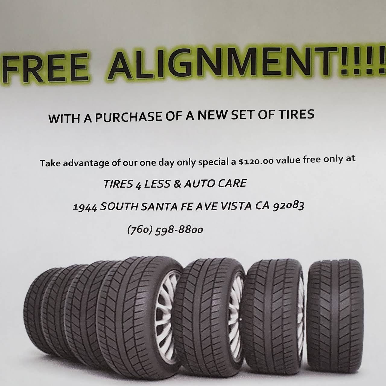 Tire For Less >> Tires 4 Less Auto Care Tire Shop In Vista