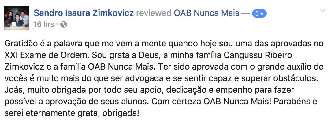 Aluna OAB Nunca Mais