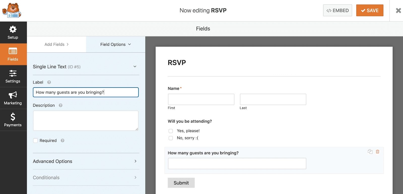 How to add additional fields in WPForms
