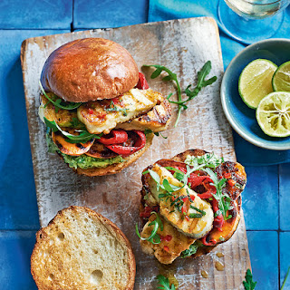 Halloumi And Sweet Potato Burgers With Chilli, Mint And Mashed Avocado.