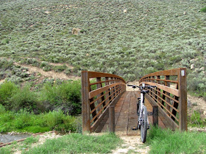 Photo: The new bridge at the trailhead. The original creek crossing was about 3/4-mile upstream, but the bridge got washed out a few years ago.