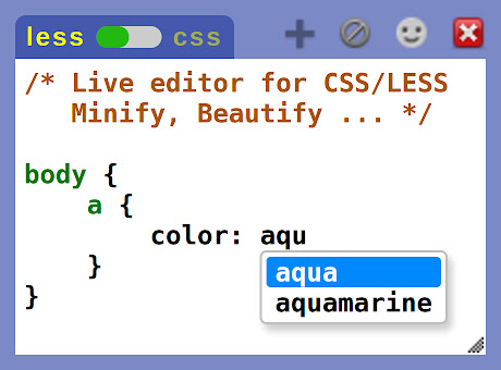 Live editor for CSS, Less & Sass - Magic CSS