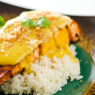 Salmon with Coconut Mango Sauce