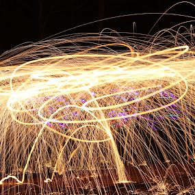 Dance On FIre by Scott Valenzuela - Novices Only Abstract ( abstract, night photography, color, long exposure, sparks )
