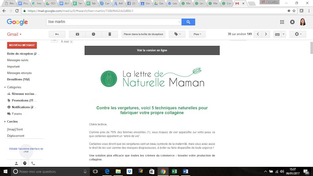 Exemple d'une Lettre de Naturelle Maman