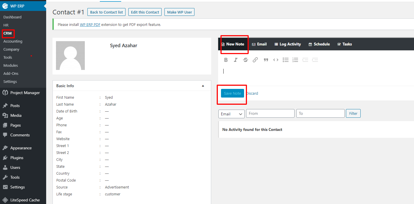 Adding notes with WPERP CRM Solution