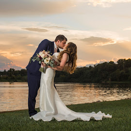 Sunset Kiss by Jamie Weiss - Wedding Bride & Groom ( bride, groom, sunset, wedding, river, kiss,  )