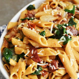 Bacon, Spinach Caramelized Onion Pasta.