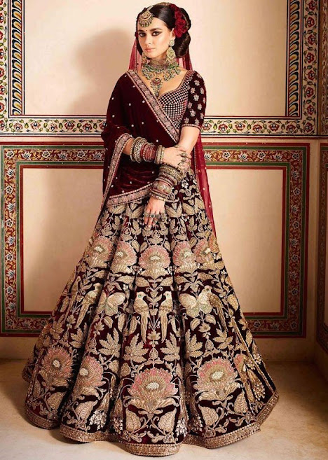Maroon Color Velvet Bridal Lehenga Choli