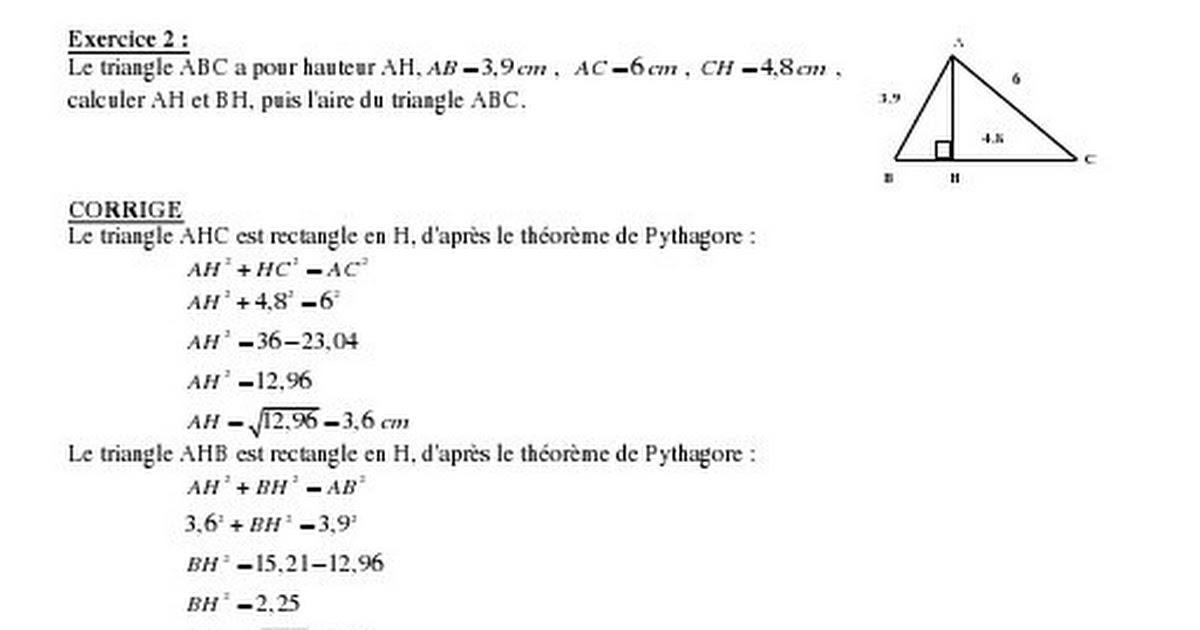 Exercices CORRIGES TB sur le Théorème de Pythagore.pdf - Google Drive