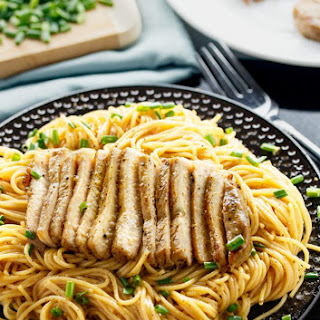 Grilled Asian Pork Chops with Sesame Noodles.