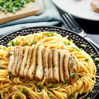 Grilled Asian Pork Chops with Sesame Noodles.