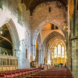 Wales Cathedral by Jennifer  Loper  - Buildings & Architecture Places of Worship ( archways, church, catholic, wales, brecon, cathedral, crucifix )
