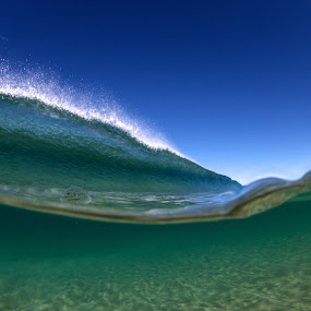 two worlds by Harrison Steele - Landscapes Waterscapes ( water, blue, green, wave, split )